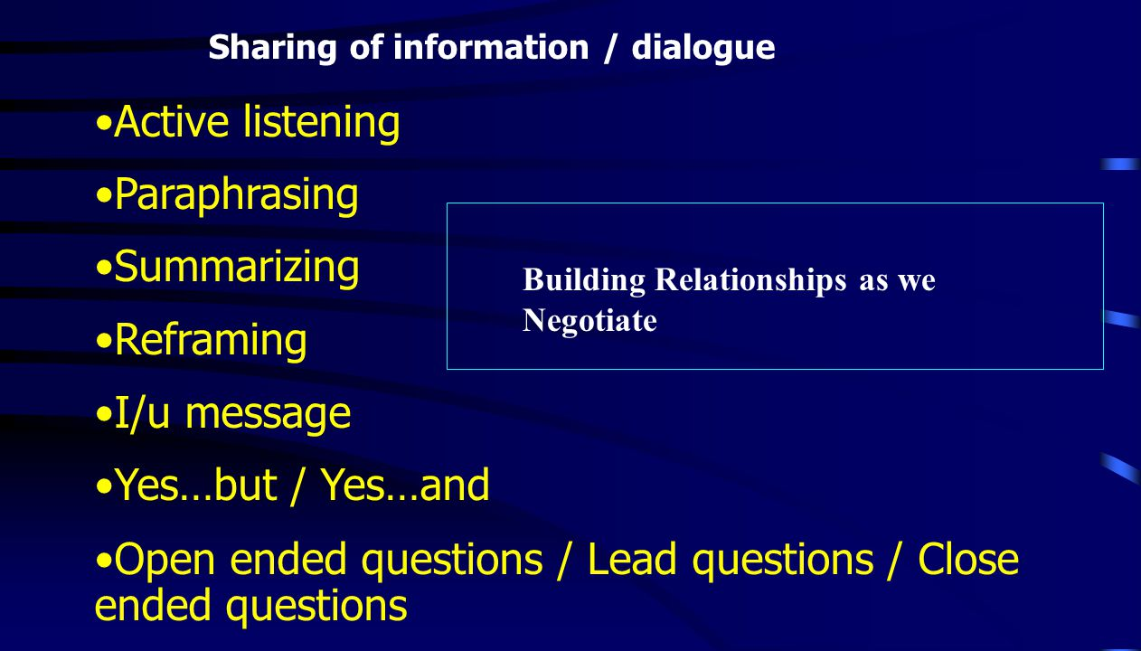 Active listening Paraphrasing Summarizing Reframing I/u message Yes…but / Yes…and Open ended questions / Lead questions / Close ended questions Sharing of information / dialogue Building Relationships as we Negotiate