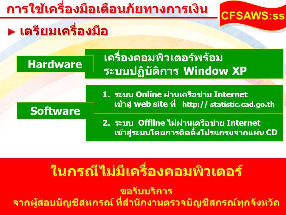 www.themegallery.comการใช้เครื่องมือเตือนภัยทางการเงิน CFSAWS:ss 1. ระบบ Online ผ่านเครือข่าย Internet เข้าสู่ web site ที่ http:// statistic.cad.go.t