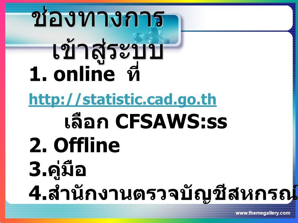 www.themegallery.com ช่องทางการ เข้าสู่ระบบ 1. online ที่ http://statistic.cad.go.th http://statistic.cad.go.th เลือก CFSAWS:ss 2. Offline 3. คู่มือ 4