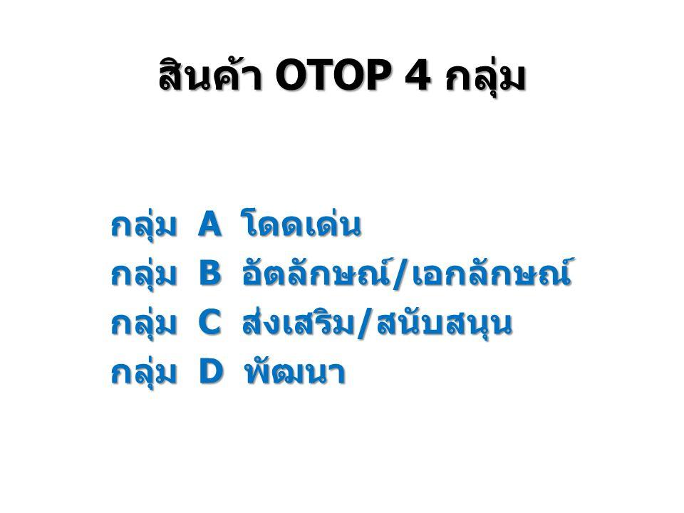 กลุ่ม A โดดเด่น กลุ่ม B อัตลักษณ์/เอกลักษณ์ กลุ่ม C ส่งเสริม/สนับสนุน กลุ่ม D พัฒนา สินค้า OTOP 4 กลุ่ม