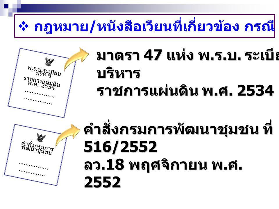  กฎหมาย / หนังสือเวียนที่เกี่ยวข้อง กรณี รักษาราชการแทน คำสั่งกรมการ พัฒนาชุมชน................................ คำสั่งกรมการพัฒนาชุมชน ที่ 516/2552 ล