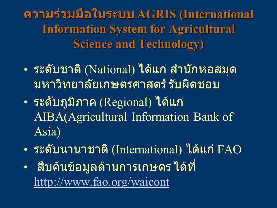 ความร่วมมือในระบบ AGRIS (International Information System for Agricultural Science and Technology) ระดับชาติ (National) ได้แก่ สำนักหอสมุด มหาวิทยาลัย