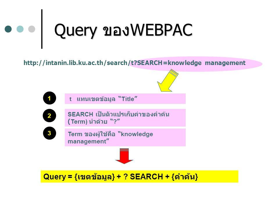 "Query ของWEBPAC Query ของWEBPAC http://intanin.lib.ku.ac.th/search/t?SEARCH=knowledge management 1 2 3 t แทนเขตข้อมูล "" Title "" SEARCH เป็นตัวแปรเก็บค"