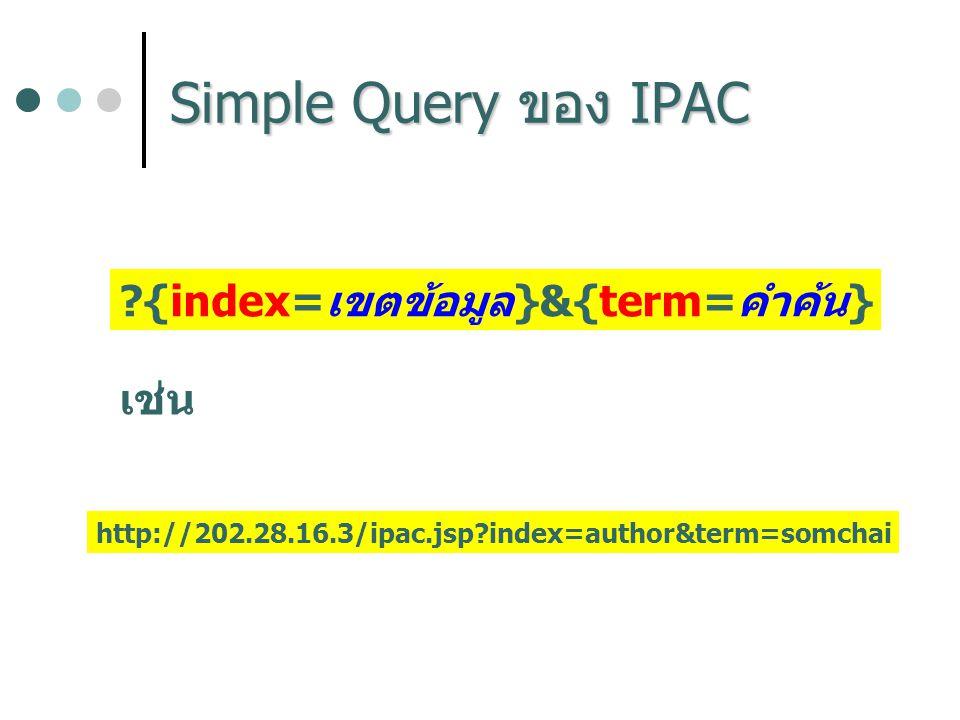 ?{index=เขตข้อมูล}&{term=คำค้น} เช่น http://202.28.16.3/ipac.jsp?index=author&term=somchai
