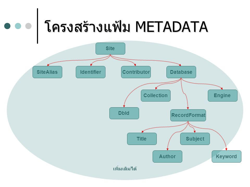 โครงสร้างแฟ้ม METADATA IdentifierContributorSiteAliasDatabase DbId CollectionEngine RecordFormat Title Author Subject Keyword Site เพิ่มเติมได้