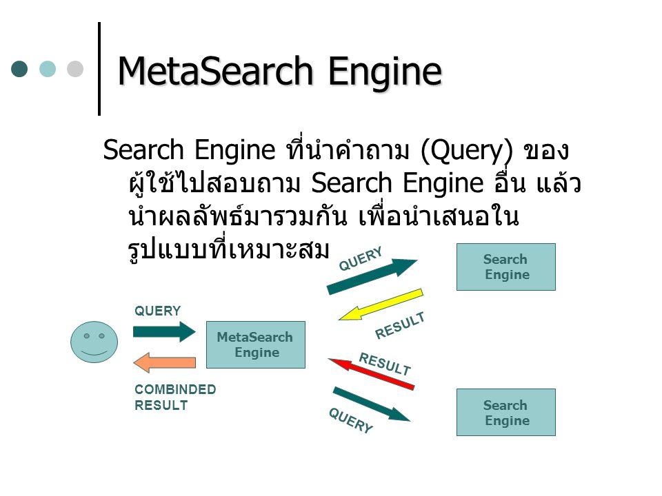 MetaSearch Engine Search Engine ที่นำคำถาม (Query) ของ ผู้ใช้ไปสอบถาม Search Engine อื่น แล้ว นำผลลัพธ์มารวมกัน เพื่อนำเสนอใน รูปแบบที่เหมาะสม MetaSea