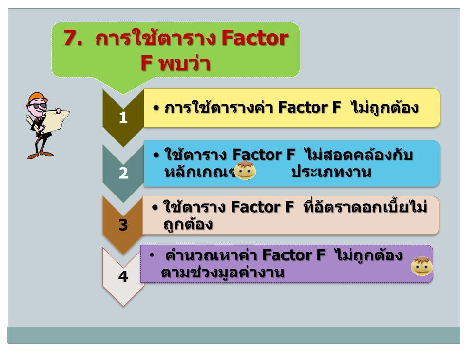 7. การใช้ตาราง Factor F พบว่า 1 การใช้ตารางค่า Factor F ไม่ถูกต้อง การใช้ตารางค่า Factor F ไม่ถูกต้อง 2 ใช้ตาราง Factor F ไม่สอดคล้องกับ หลักเกณฑ์ / ป