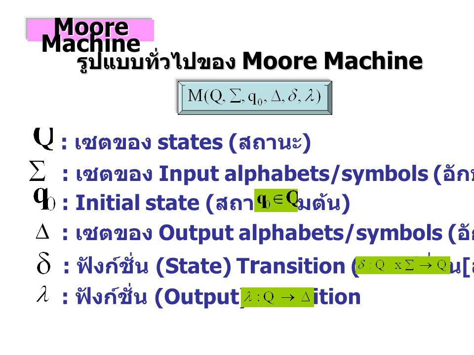 : เซตของ states ( สถานะ ) : เซตของ Input alphabets/symbols ( อักษร / สัญลักษณ์ รับเข้า ) : Initial state ( สถานะเริ่มต้น ) : เซตของ Output alphabets/symbols ( อักษร / สัญลักษณ์ ส่งออก ) : ฟังก์ชั่น (State) T r ansition ( การเปลี่ยน [ สถานะ ]) Moore Machine รูปแบบทั่วไปของ Moore Machine : ฟังก์ชั่น (Output) Transition