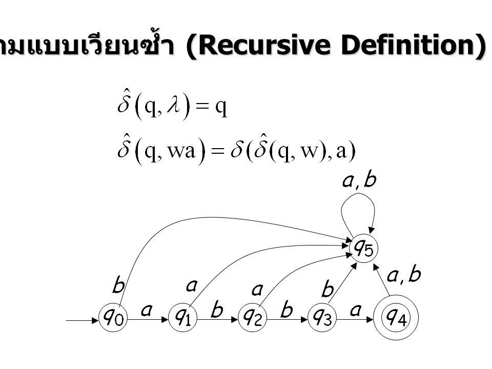 ตัวอย่างการทำงานของ State diagram Input Tap 012 0 12 0 12 End of String ยอมรับ (Accept) NFA เครื่องนี้ ยอมรับ (Accept) 012 หรือ จำ (Recognize) NFA เครื่องนี้ จำ (Recognize) 012 ได้ เปลี่ยน State โดยที่หัวอ่านยังไม่ขยับ