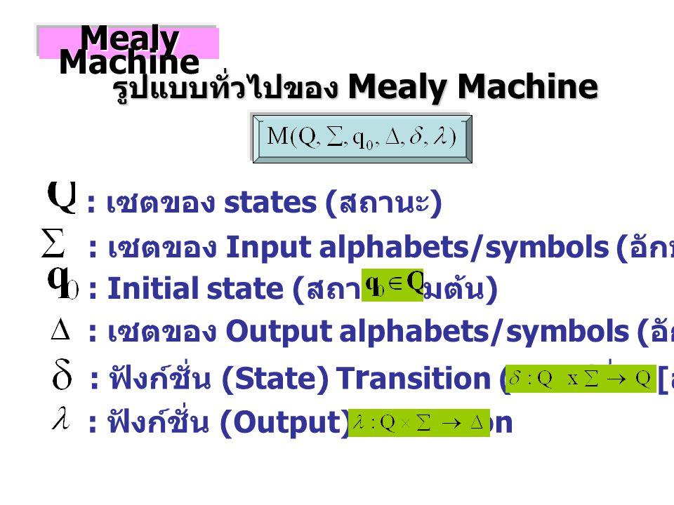 : เซตของ states ( สถานะ ) : เซตของ Input alphabets/symbols ( อักษร / สัญลักษณ์ รับเข้า ) : Initial state ( สถานะเริ่มต้น ) : เซตของ Output alphabets/symbols ( อักษร / สัญลักษณ์ ส่งออก ) : ฟังก์ชั่น (State) T r ansition ( การเปลี่ยน [ สถานะ ]) Mealy Machine รูปแบบทั่วไปของ Mealy Machine : ฟังก์ชั่น (Output) Transition