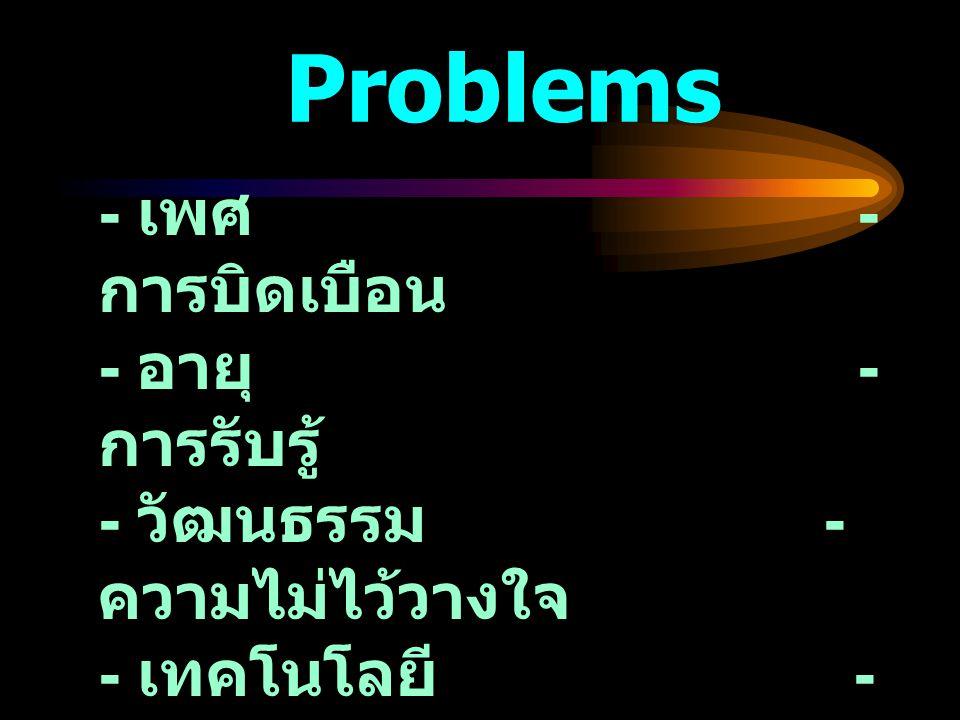 Problems - เพศ - การบิดเบือน - อายุ - การรับรู้ - วัฒนธรรม - ความไม่ไว้วางใจ - เทคโนโลยี - ข่าวสารมากเกินไป - การวางแผน - สูญหาย - ความไม่ชัดเจน - การ