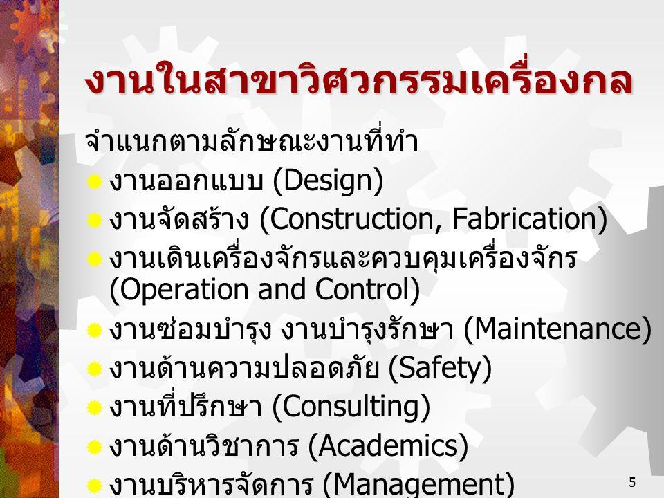 5 งานในสาขาวิศวกรรมเครื่องกล จำแนกตามลักษณะงานที่ทำ  งานออกแบบ (Design)  งานจัดสร้าง (Construction, Fabrication)  งานเดินเครื่องจักรและควบคุมเครื่อ