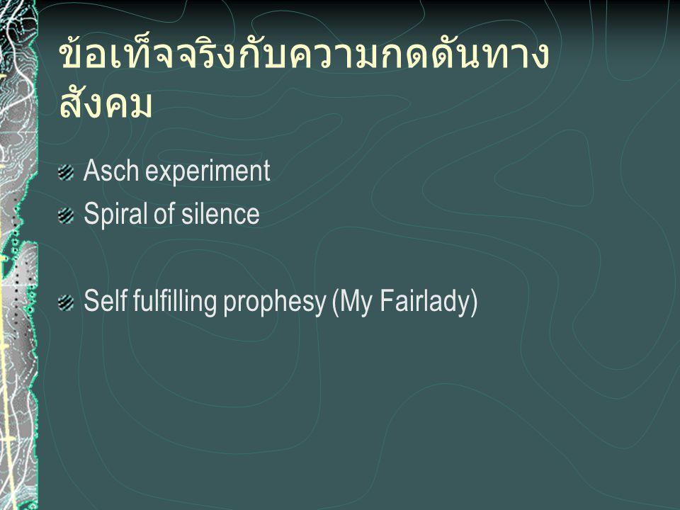ข้อเท็จจริงกับความกดดันทาง สังคม Asch experiment Spiral of silence Self fulfilling prophesy (My Fairlady)
