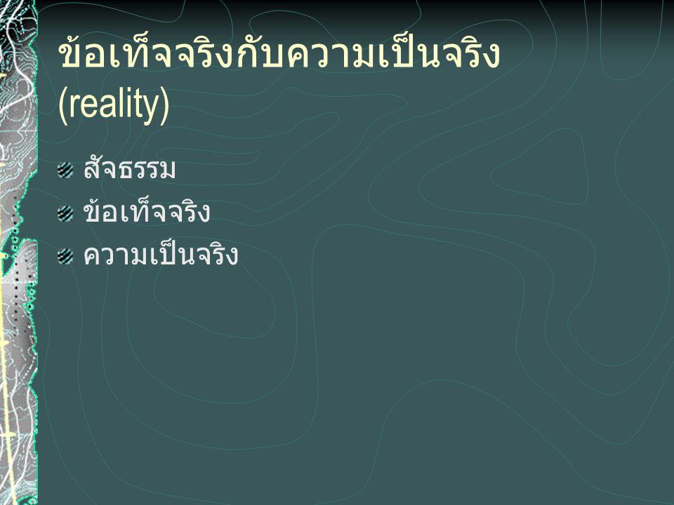 ข้อเท็จจริงกับความเป็นจริง (reality) สัจธรรม ข้อเท็จจริง ความเป็นจริง
