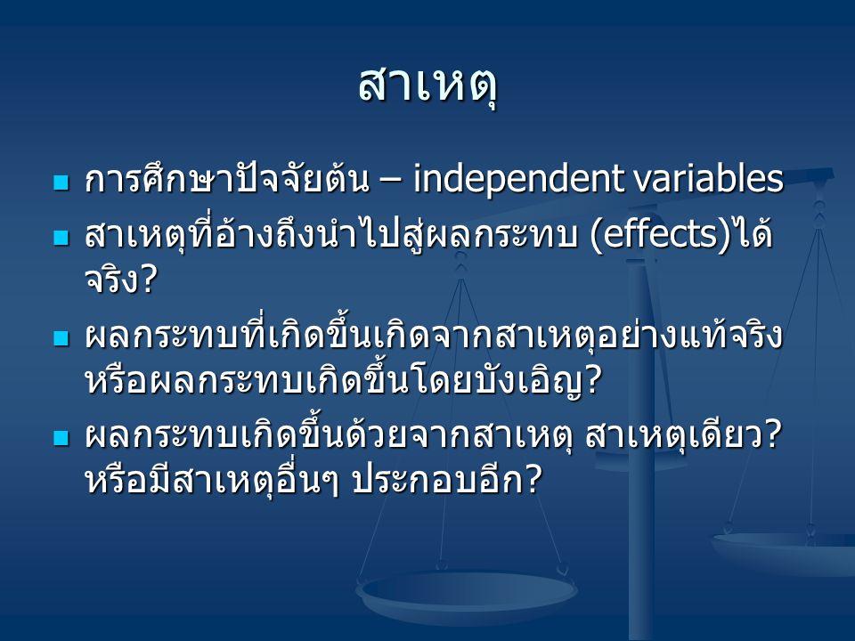 สาเหตุ การศึกษาปัจจัยต้น – independent variables การศึกษาปัจจัยต้น – independent variables สาเหตุที่อ้างถึงนำไปสู่ผลกระทบ (effects) ได้ จริง ? สาเหตุท