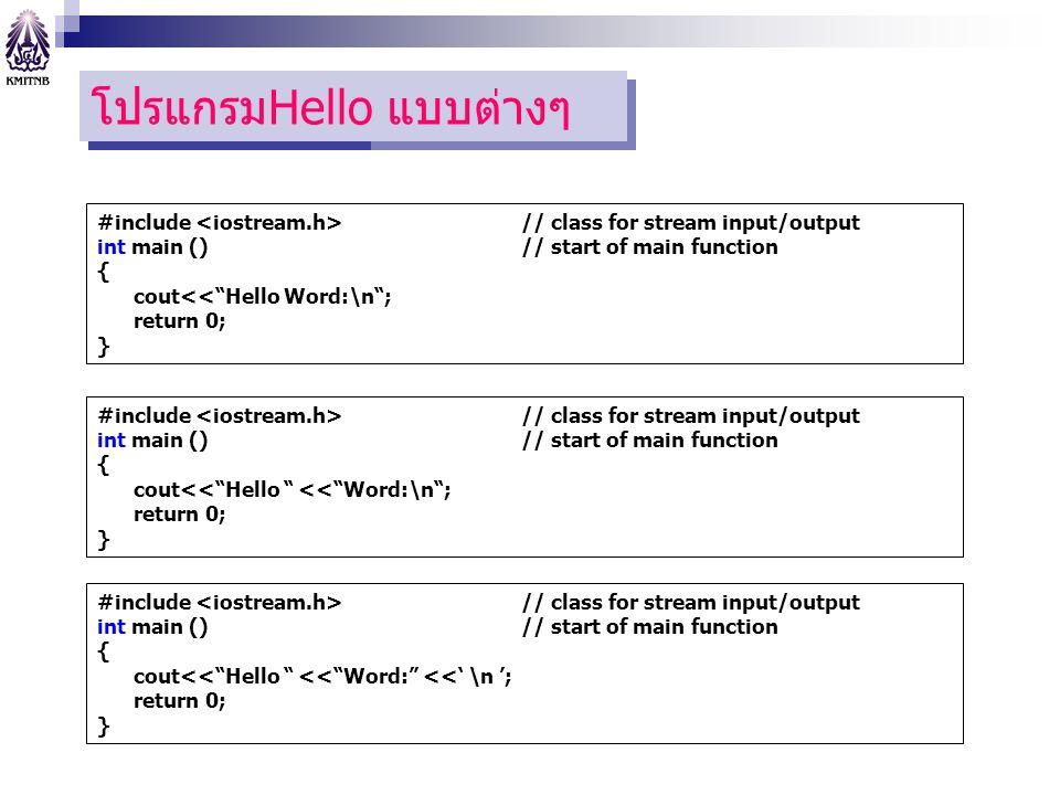 """โปแกรมแรก โปรแกรมHello แบบต่างๆ #include // class for stream input/output int main () // start of main function { cout<<""""Hello Word:\n""""; return 0; } #"""