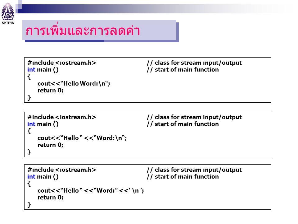 """โปแกรมแรก การเพิ่มและการลดค่า #include // class for stream input/output int main () // start of main function { cout<<""""Hello Word:\n""""; return 0; } #in"""