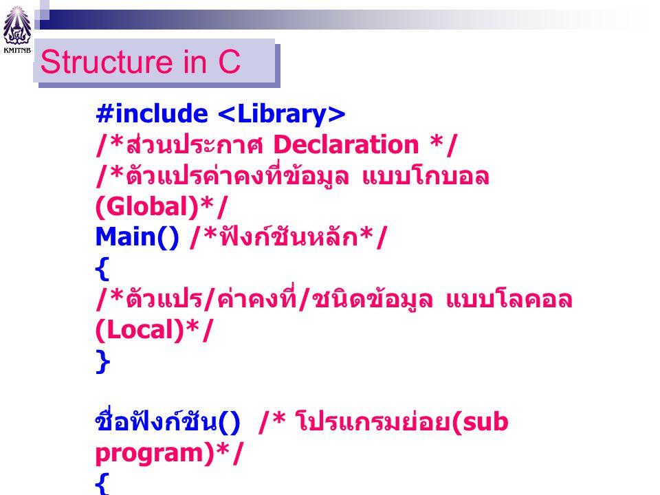 Structure in C #include /* ส่วนประกาศ Declaration */ /* ตัวแปรค่าคงที่ข้อมูล แบบโกบอล (Global)*/ Main() /* ฟังก์ชันหลัก */ { /* ตัวแปร / ค่าคงที่ / ชน
