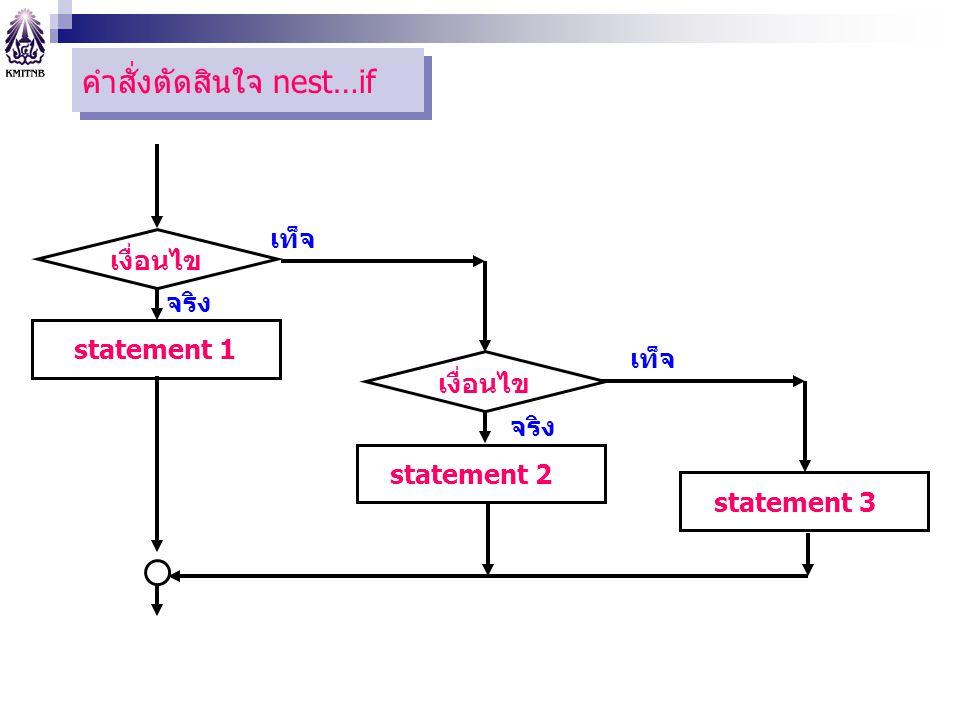 ตัวอย่างการใช้งาน #include int main(){ int score; cout << Enter the test score: ; cin >> score; if (score > 100) cout << Error: score is out of range. ; else if (score >= 90) cout << A ; else if (score >= 80) cout << B ; else if (score >= 70) cout << C ; else if (score >= 60) cout << D ; else if (score >= 0) cout << F ; else cout << Error: score is out of range. ; return 0; }