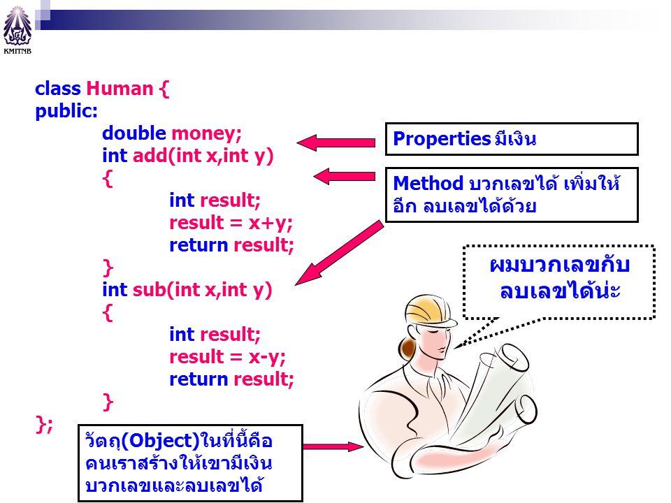 class Human { public: double money; int add(int x,int y) { int result; result = x+y; return result; } int sub(int x,int y) { int result; result = x-y;