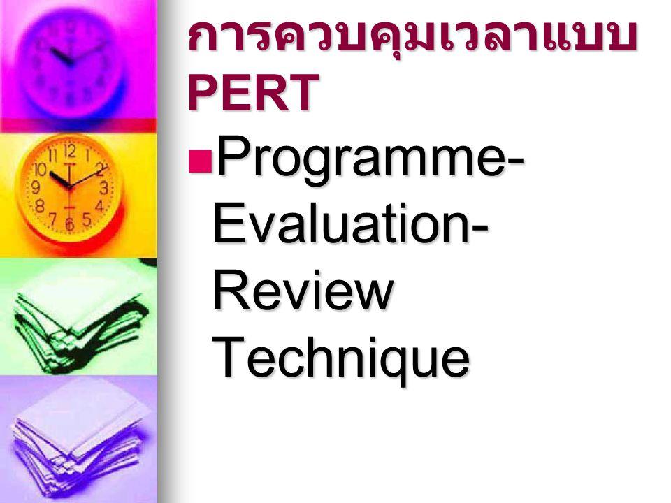การควบคุมเวลาแบบ PERT Programme- Evaluation- Review Technique Programme- Evaluation- Review Technique
