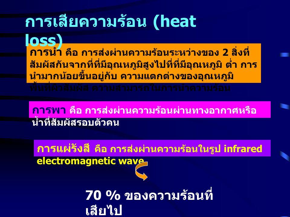 การระเหยของน้ำ - ทางลมหายใจ ( insensible perspiration: 30-50 ml / hour) - sweating : 2.5 ล้านต่อมทั่ว ร่างกาย การขับถ่าย : 1-2% 30 % ของความร้อนที่ เสียไป การเสียความร้อน (heat loss)