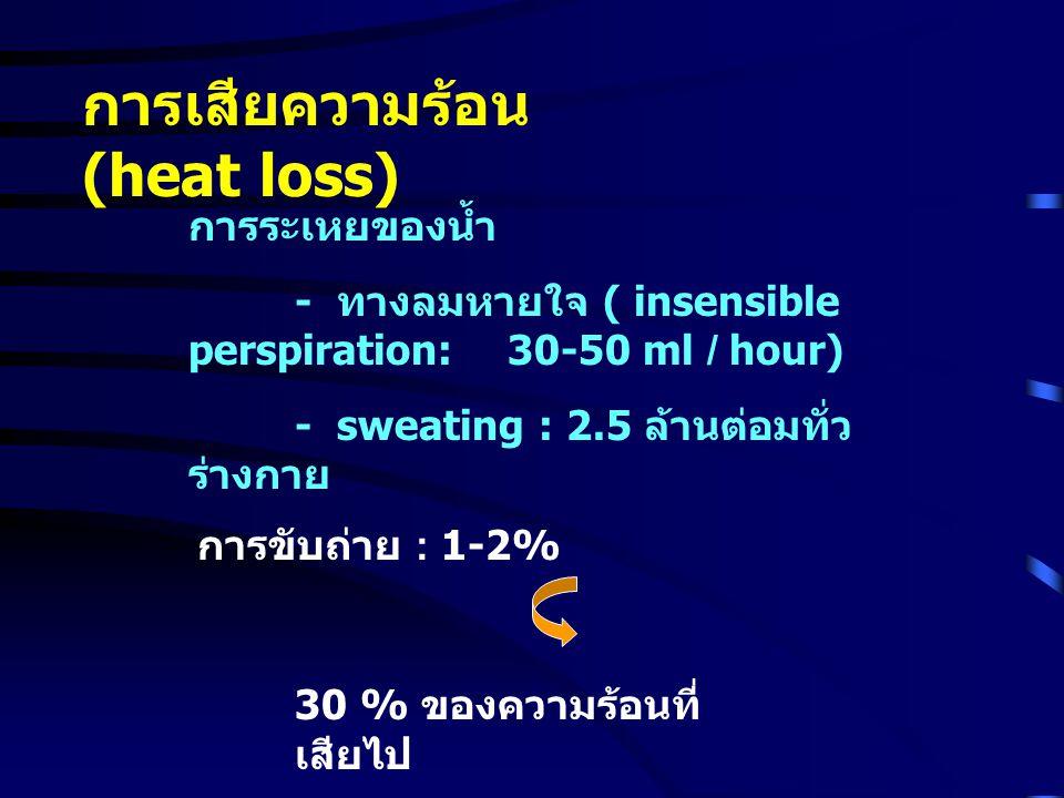 การระเหยของน้ำ - ทางลมหายใจ ( insensible perspiration: 30-50 ml / hour) - sweating : 2.5 ล้านต่อมทั่ว ร่างกาย การขับถ่าย : 1-2% 30 % ของความร้อนที่ เส