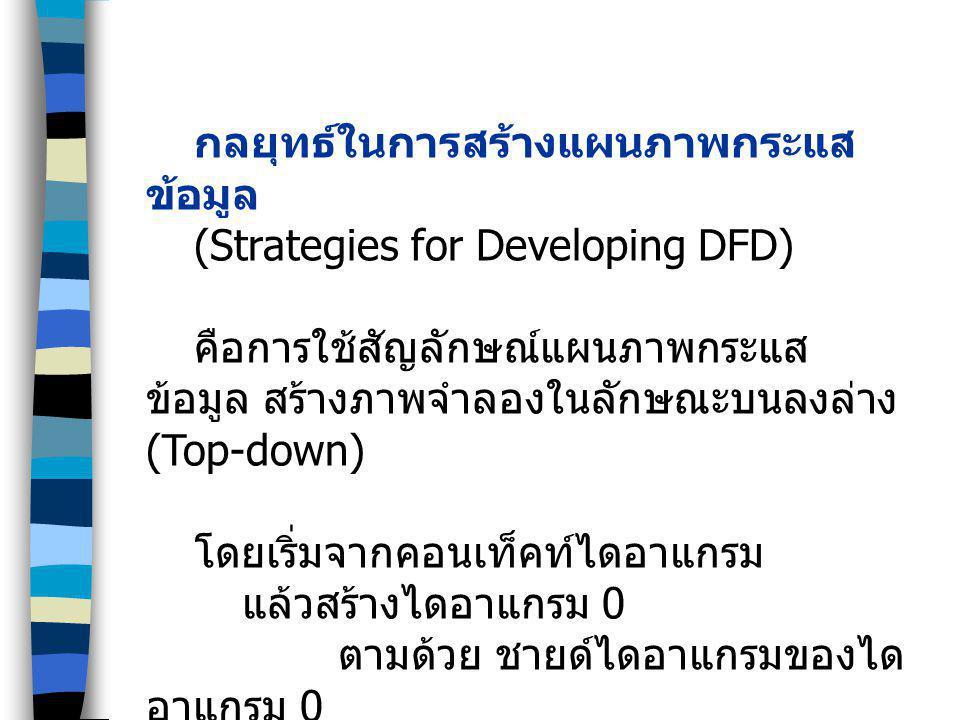 กลยุทธ์ในการสร้างแผนภาพกระแส ข้อมูล (Strategies for Developing DFD) คือการใช้สัญลักษณ์แผนภาพกระแส ข้อมูล สร้างภาพจำลองในลักษณะบนลงล่าง (Top-down) โดยเ