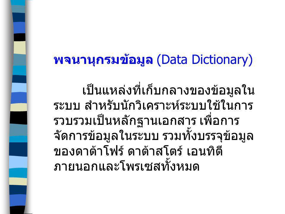 พจนานุกรมข้อมูล (Data Dictionary) เป็นแหล่งที่เก็บกลางของข้อมูลใน ระบบ สำหรับนักวิเคราะห์ระบบใช้ในการ รวบรวมเป็นหลักฐานเอกสาร เพื่อการ จัดการข้อมูลในร
