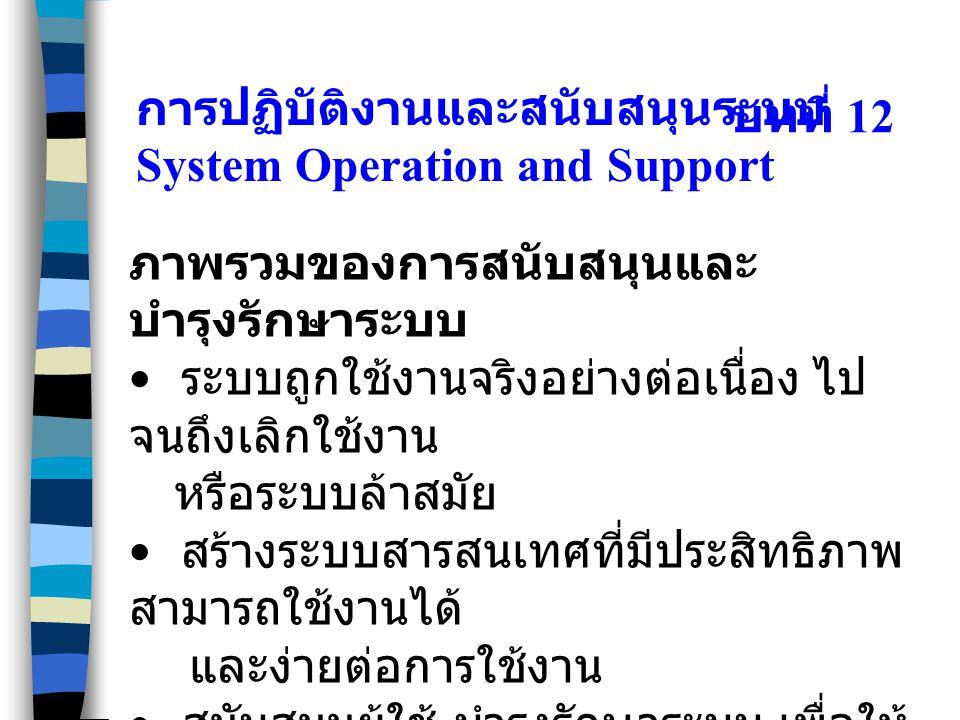 บทที่ 12 ภาพรวมของการสนับสนุนและ บำรุงรักษาระบบ ระบบถูกใช้งานจริงอย่างต่อเนื่อง ไป จนถึงเลิกใช้งาน หรือระบบล้าสมัย สร้างระบบสารสนเทศที่มีประสิทธิภาพ ส