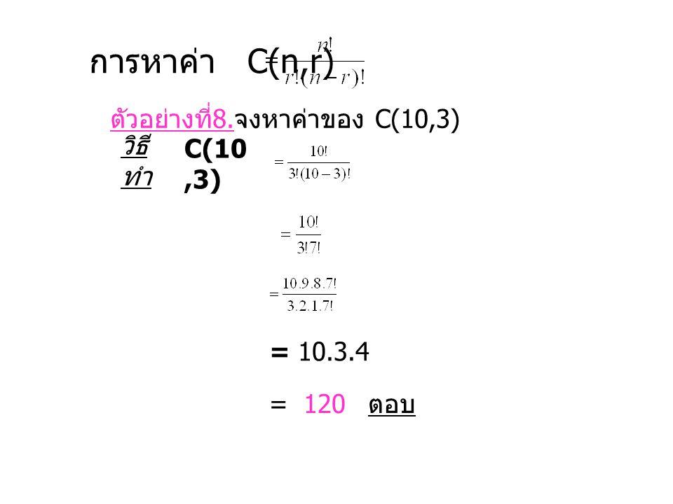 การหาค่า C(n,r) ตัวอย่างที่ 8. จงหาค่าของ C(10,3) วิธี ทำ C(10,3) = 10.3.4 = 120 ตอบ