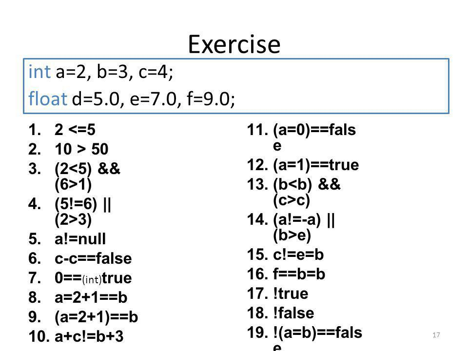 Exercise 1.2 <=5 2.10 > 50 3.(2 1) 4.(5!=6) || (2>3) 5.a!=null 6.c-c==false 7.0== (int) true 8.a=2+1==b 9.(a=2+1)==b 10.a+c!=b+3 17 int a=2, b=3, c=4; float d=5.0, e=7.0, f=9.0; 11.(a=0)==fals e 12.(a=1)==true 13.(b c) 14.(a!=-a) || (b>e) 15.c!=e=b 16.f==b=b 17.!true 18.!false 19.!(a=b)==fals e 20.!(a==b)==fal se