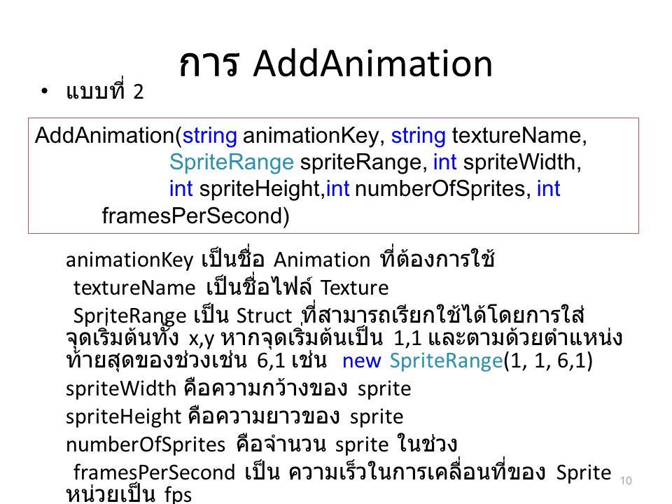 การ AddAnimation แบบที่ 2 animationKey เป็นชื่อ Animation ที่ต้องการใช้ textureName เป็นชื่อไฟล์ Texture SpriteRange เป็น Struct ที่สามารถเรียกใช้ได้โ