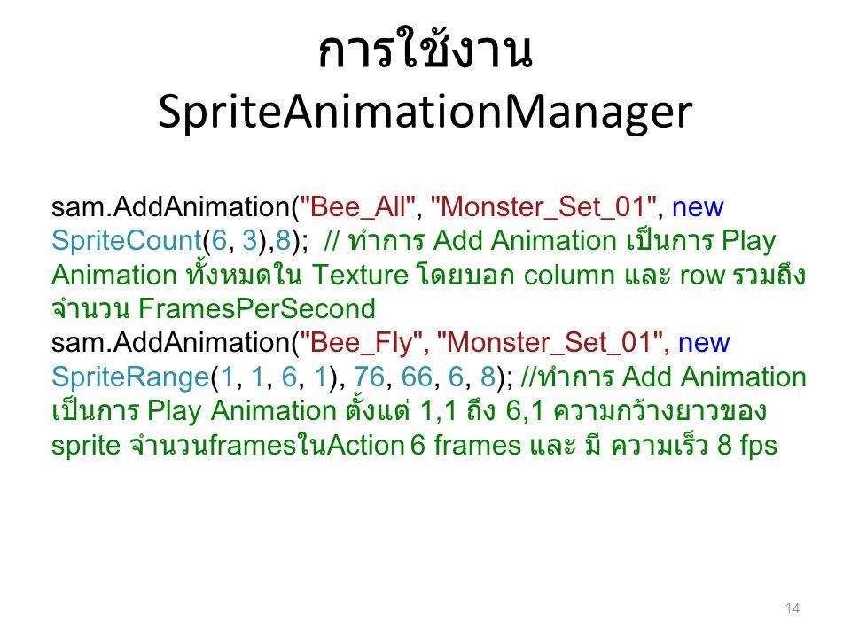 การใช้งาน SpriteAnimationManager sam.AddAnimation(