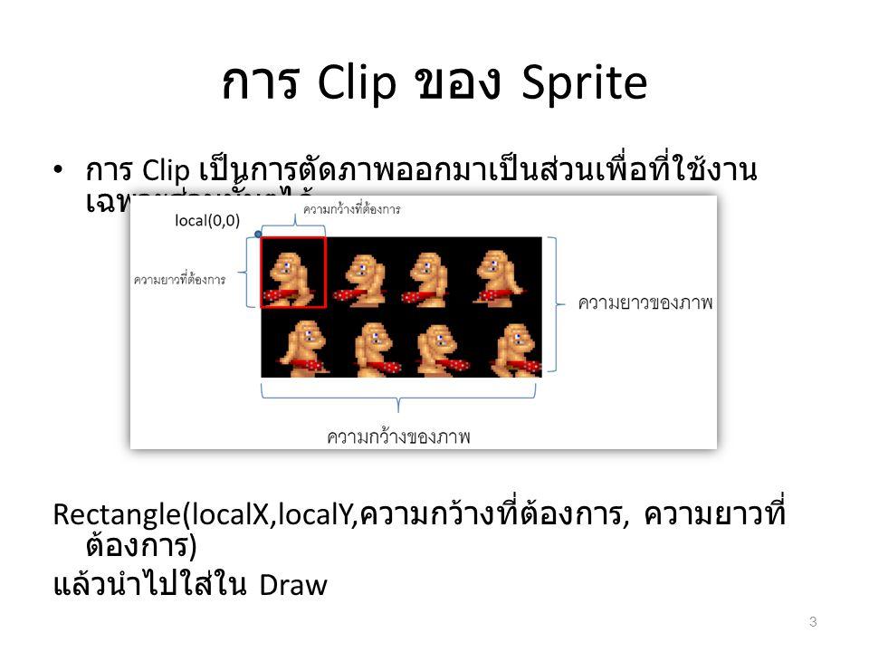 การ Clip ของ Sprite การ Clip เป็นการตัดภาพออกมาเป็นส่วนเพื่อที่ใช้งาน เฉพาะส่วนนั้นๆได้ Rectangle(localX,localY, ความกว้างที่ต้องการ, ความยาวที่ ต้องก