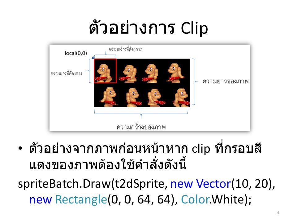 ตัวอย่างการ Clip ตัวอย่างจากภาพก่อนหน้าหาก clip ที่กรอบสี แดงของภาพต้องใช้คำสั่งดังนี้ spriteBatch.Draw(t2dSprite, new Vector(10, 20), new Rectangle(0