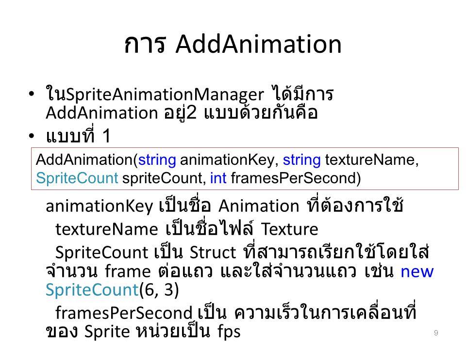 การ AddAnimation ใน SpriteAnimationManager ได้มีการ AddAnimation อยู่ 2 แบบด้วยกันคือ แบบที่ 1 animationKey เป็นชื่อ Animation ที่ต้องการใช้ textureNa
