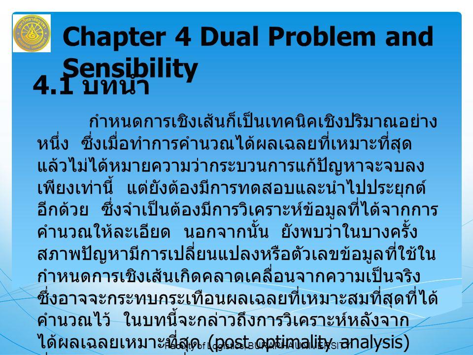 Faculty of Logistics, BURAPHA UNIVERSITY 4.2 ปัญหาควบคู่ นักคณิตศาสตร์ได้ค้นพบว่าปัญหาการกำหนดการ เชิงเส้นทุกปัญหาจะมีกำหนดการเชิงเส้นอีกปัญหาหนึ่ง คู่กันมาเสมอ ทั้งนี้ เราเรียกว่ากำหนดการเชิงเส้นที่ สร้างขึ้นจากการวิเคราะห์ปัญหาในองค์การว่า ปัญหา เดิม (Primal Problem) ส่วนปัญหาที่คู่กันมานั้น เรียกว่า ปัญหาควบคู่ (Dual Problem) ถ้าปัญหาเดิมเป็นปัญหาหาค่าสูงสุด ปัญหา ควบคู่จะเป็นปัญหาหาค่าต่ำสุด Chapter 4 Dual Problem and Sensibility