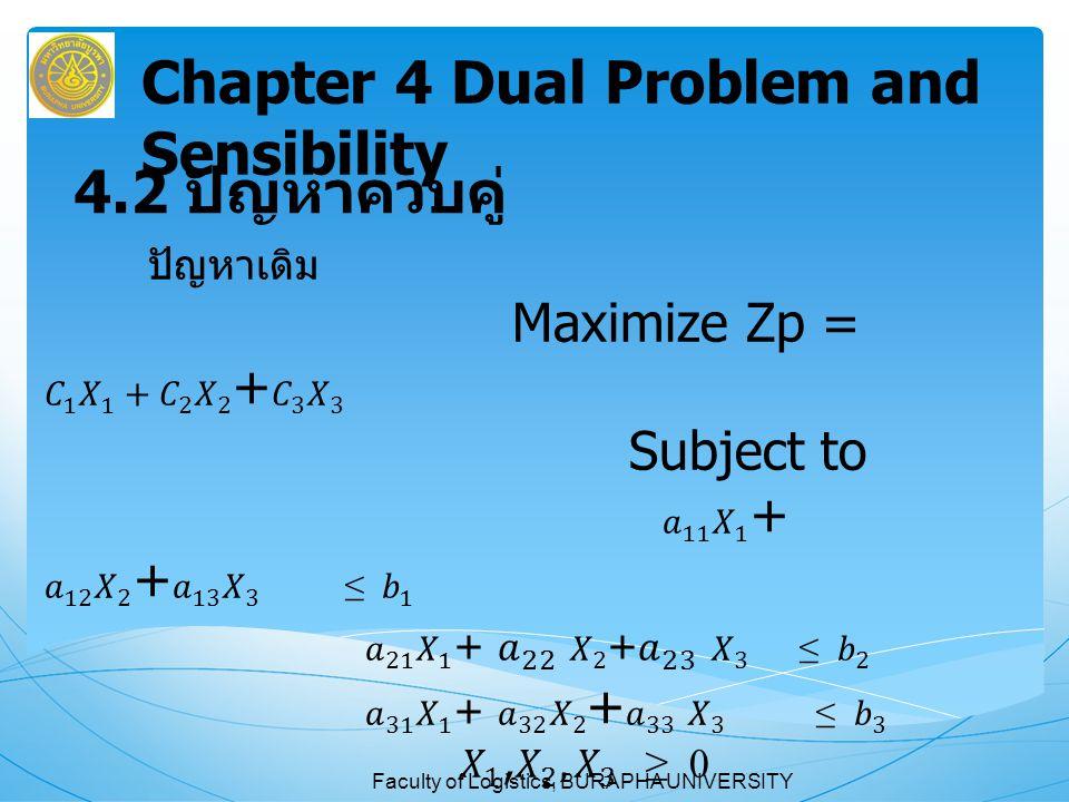 Faculty of Logistics, BURAPHA UNIVERSITY ถาม ตอบ Chapter 4 Dual Problem and Sensibility