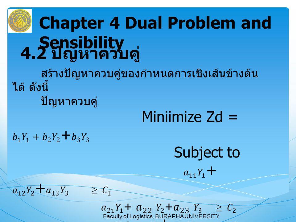 Faculty of Logistics, BURAPHA UNIVERSITY หนังสืออ้างอิง การวิเคราะห์เชิงปริมาณ พิมพ์ครั้งที่ 4 ผู้ช่วยศาสตราจารย์สุทธิมา ชำนาญเวช บทที่ 4 หน้า 107-140 Chapter 4 Dual Problem and Sensibility