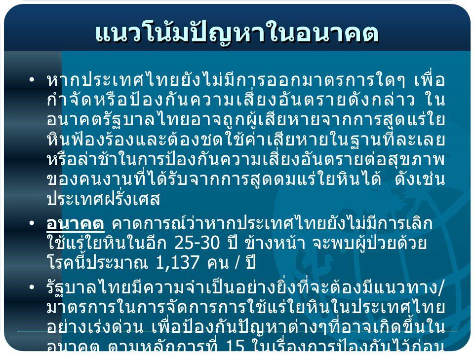 แนวโน้มปัญหาในอนาคต หากประเทศไทยยังไม่มีการออกมาตรการใดๆ เพื่อ กำจัดหรือป้องกันความเสี่ยงอันตรายดังกล่าว ใน อนาคตรัฐบาลไทยอาจถูกผู้เสียหายจากการสูดแร่ใย หินฟ้องร้องและต้องชดใช้ค่าเสียหายในฐานที่ละเลย หรือล่าช้าในการป้องกันความเสี่ยงอันตรายต่อสุขภาพ ของคนงานที่ได้รับจากการสูดดมแร่ใยหินได้ ดังเช่น ประเทศฝรั่งเศส อนาคต คาดการณ์ว่าหากประเทศไทยยังไม่มีการเลิก ใช้แร่ใยหินในอีก 25-30 ปี ข้างหน้า จะพบผู้ป่วยด้วย โรคนี้ประมาณ 1,137 คน / ปี รัฐบาลไทยมีความจำเป็นอย่างยิ่งที่จะต้องมีแนวทาง / มาตรการในการจัดการการใช้แร่ใยหินในประเทศไทย อย่างเร่งด่วน เพื่อป้องกันปัญหาต่างๆที่อาจเกิดขึ้นใน อนาคต ตามหลักการที่ 15 ในเรื่องการป้องกันไว้ก่อน (The Precautionary principle) ของปฏิญญาสากลริ โอ