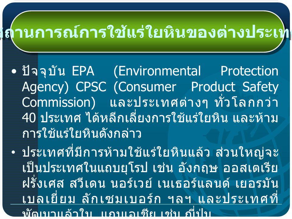 ปัจจุบัน EPA (Environmental Protection Agency) CPSC (Consumer Product Safety Commission) และประเทศต่างๆ ทั่วโลกกว่า 40 ประเทศ ได้หลีกเลี่ยงการใช้แร่ใยหิน และห้าม การใช้แร่ใยหินดังกล่าว ประเทศที่มีการห้ามใช้แร่ใยหินแล้ว ส่วนใหญ่จะ เป็นประเทศในแถบยุโรป เช่น อังกฤษ ออสเตเรีย ฝรั่งเศส สวีเดน นอร์เวย์ เนเธอร์แลนด์ เยอรมัน เบลเยี่ยม ลักเซมเบอร์ก ฯลฯ และประเทศที่ พัฒนาแล้วใน แถบเอเชีย เช่น ญี่ปุ่น สถานการณ์การใช้แร่ใยหินของต่างประเทศ