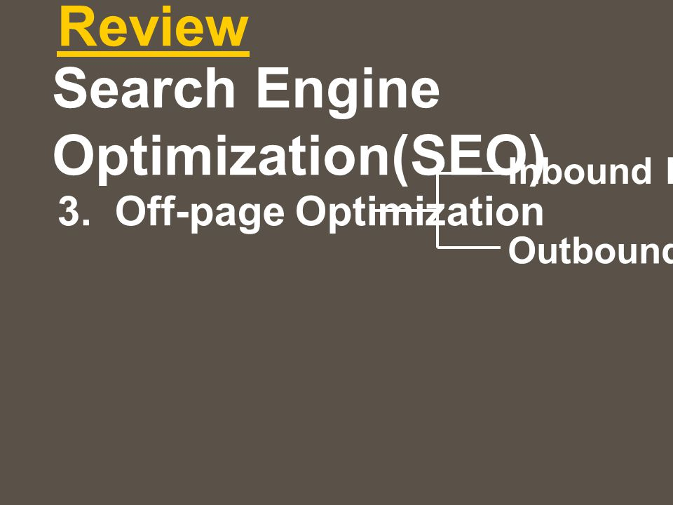 Review 3. Off-page Optimization Inbound link Outbound link Search Engine Optimization(SEO)