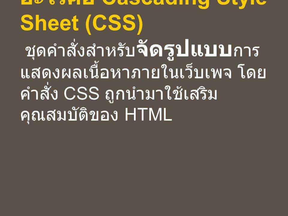 รูปแบบคำสั่ง CSS ( ต่อ ) เมื่อนำไปใช้แบบ External