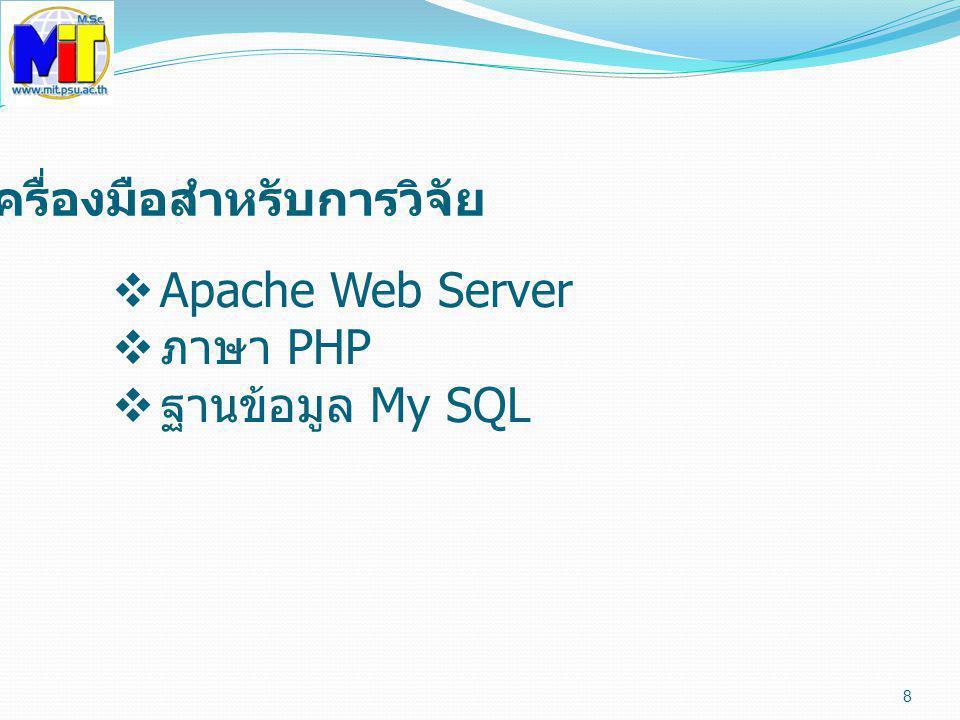 8 เครื่องมือสำหรับการวิจัย  Apache Web Server  ภาษา PHP  ฐานข้อมูล My SQL