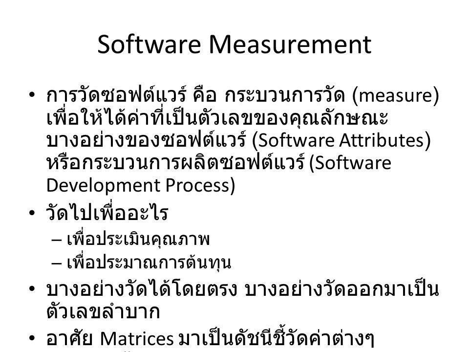 Software Measurement การวัดซอฟต์แวร์ คือ กระบวนการวัด (measure) เพื่อให้ได้ค่าที่เป็นตัวเลขของคุณลักษณะ บางอย่างของซอฟต์แวร์ (Software Attributes) หรื
