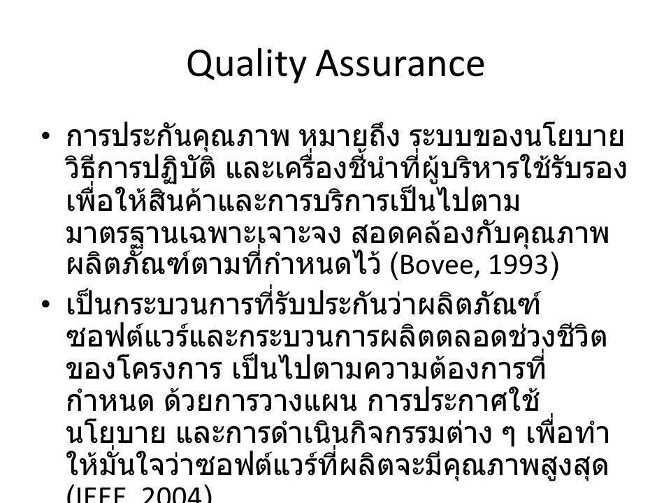 Quality Assurance ต้องเป็นไปตามมาตรฐาน หรือได้ตามมาตรฐาน ที่กำหนด มีสองอย่างที่ต้องได้มาตรฐานคือ – Product Standard เป็นมาตรฐานที่นำมาใช้วัด ผลิตถัณฑ์ซอฟต์แวร์ – Process Standard เป็นมาตรฐานที่ใช้วัดกระบวนการ ในการผลิต มาตรฐานของ ISO (International Standard Organization) – ISO 9001 – ISO 9002 – ISO 9003