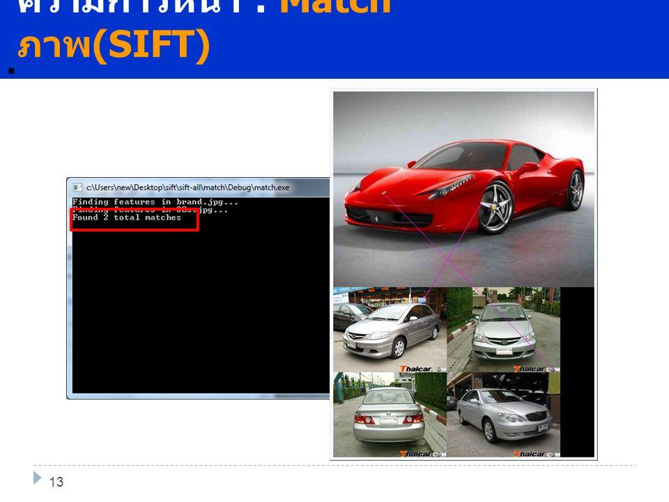 พันาต่อ. 14 ความก้าวหน้า : Match ภาพ (SIFT) 13