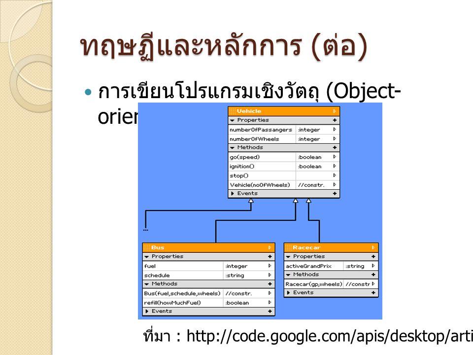 ทฤษฏีและหลักการ ( ต่อ ) การเขียนโปรแกรมเชิงวัตถุ (Object- oriented programming) ที่มา : http://code.google.com/apis/desktop/articles/e5.html