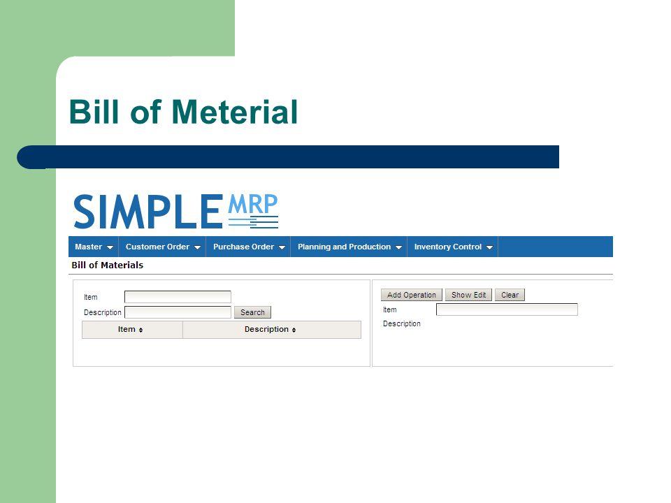 Bill of Meterial